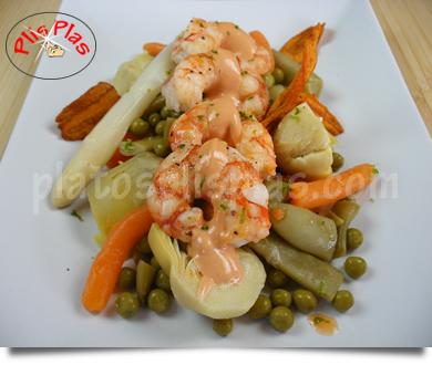 Blog ADNartesano - Recetas - Menestra de verduras con langostinos