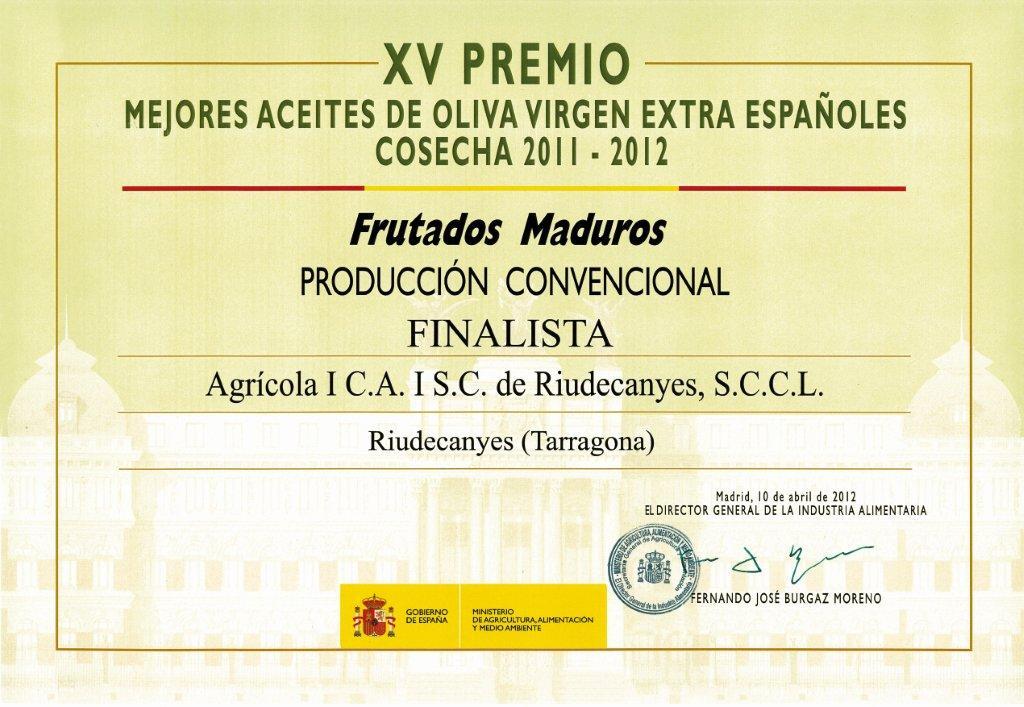 ADNartesano - Cooperativa Riudecanyes - Finalista Mejores Aceites de Oliva Virgen Extra